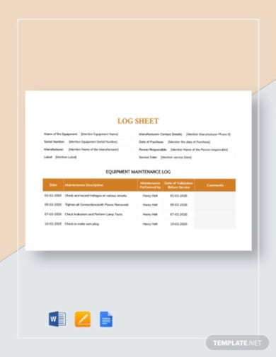 maintenance log sheet template1