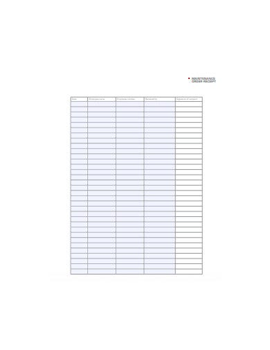 maintenance order receipt template