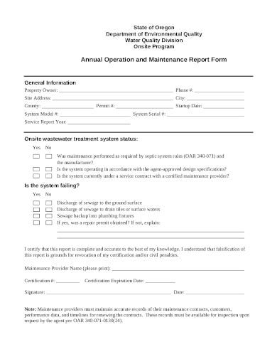 maintenance report form in pdf