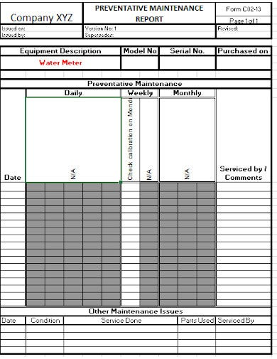 maintenance report template in xls