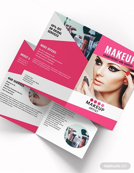makeup artist bi fold brochure download 1