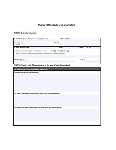 market research questionnaire format