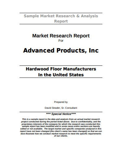 market research report sample