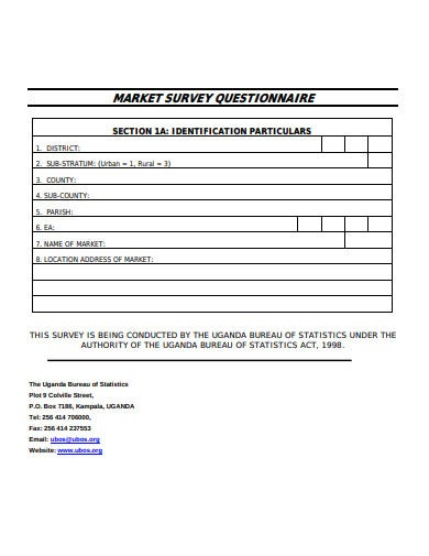 market survey questionnaire example