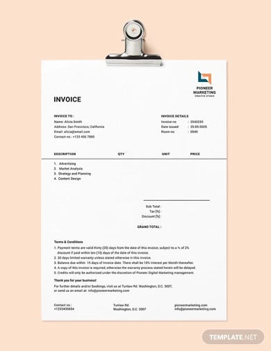 marketing agency invoice template1