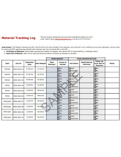 material tracking log template