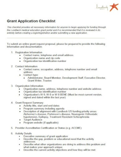 medical research grant checklist template