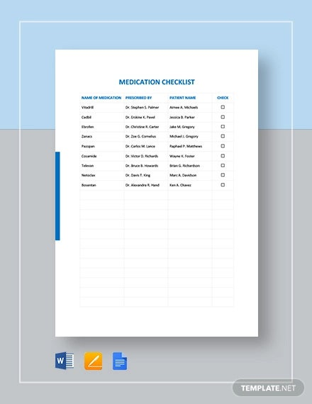 medication checklist template