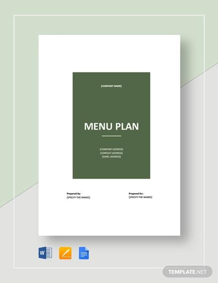 menu plan template