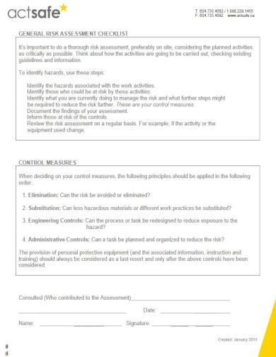 modern risk checklist template