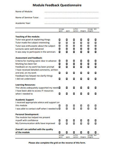 module feedback questionnaire template