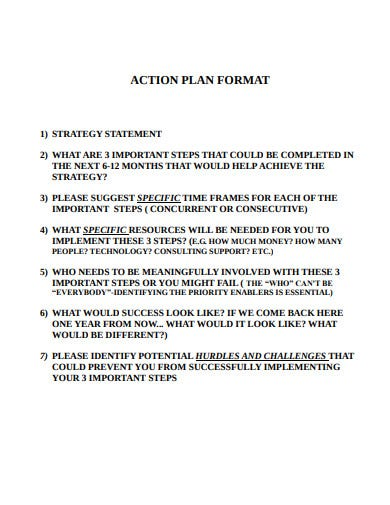 new action plan format template
