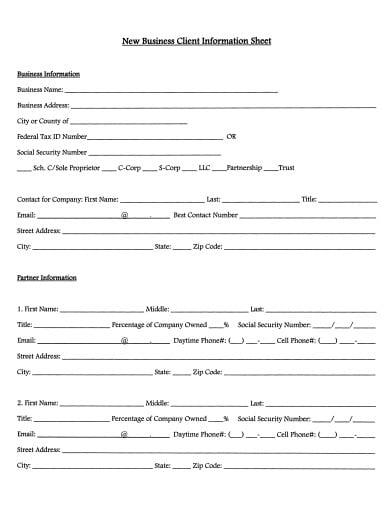 new business client information sheet template