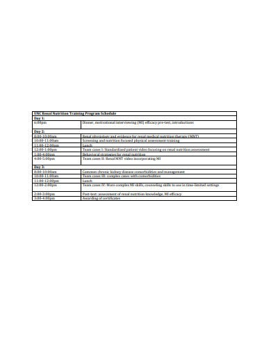 nutrition training program schedule template