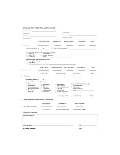 online advertising agreement format