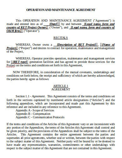 operation and maintenance agreement