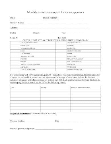 operator monthly maintenance report