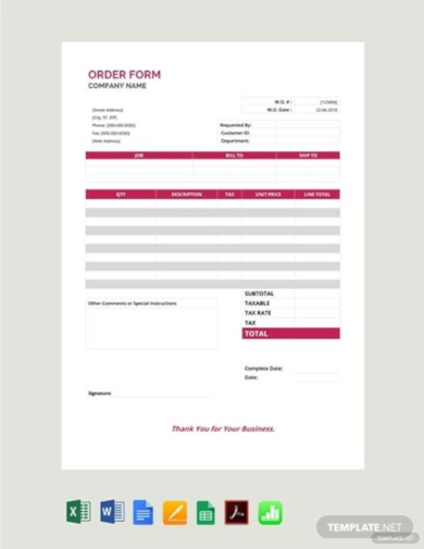 order form template free download