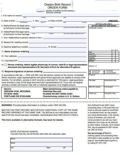 organ birth record order form1