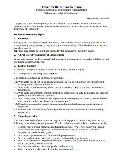 outline internship report template