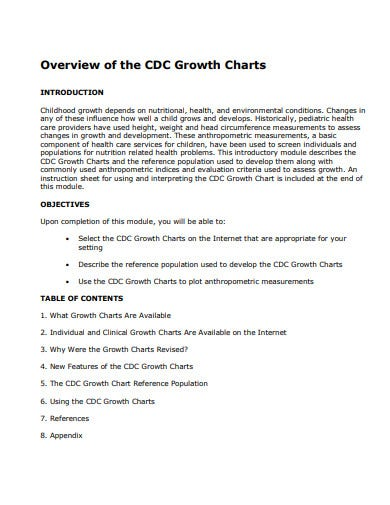 overview of growth chart template