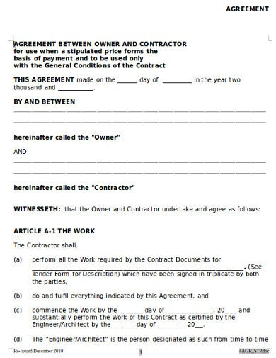 owner and contractor agreement template