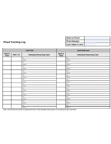 pcard tracking log template