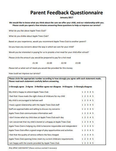 parent feedback questionnaire template