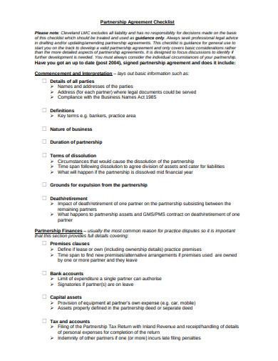 partnership agreement checklist format