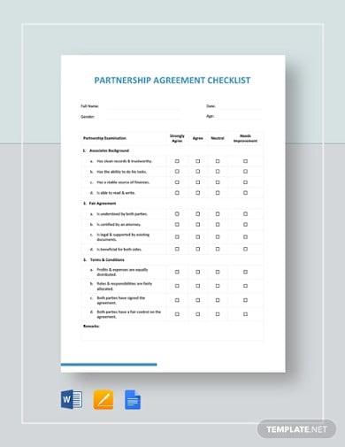 partnership agreement checklist template