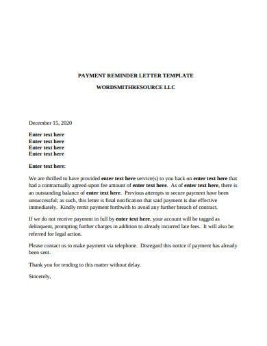 payment reminder letter template