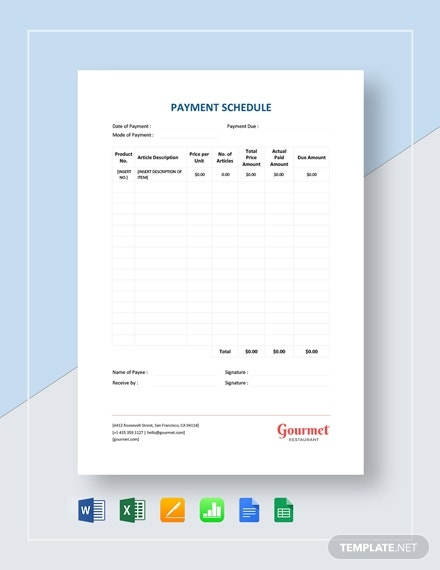 payment schedule 2