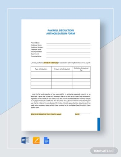 payroll-deduction-authorization-form-template