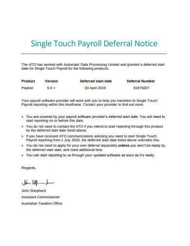 payroll deferral notice