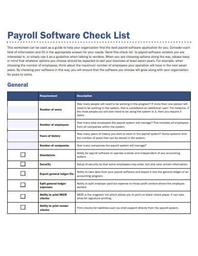 payroll software checklist
