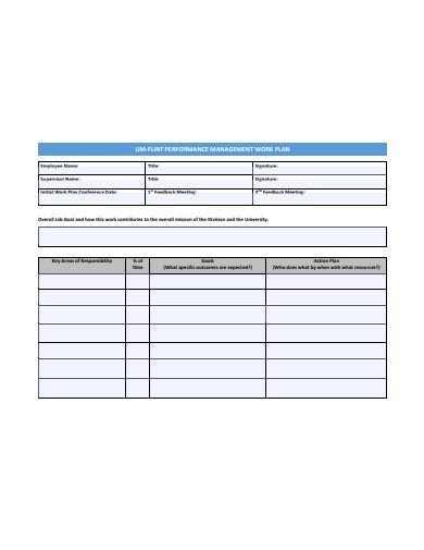 performance management work plan template