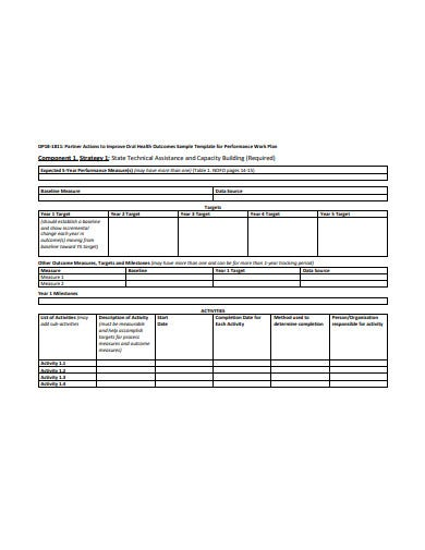 performance work plan example