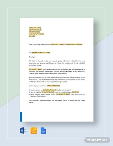 personal reference check letter template1