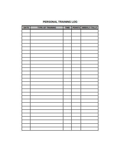 personal training log template