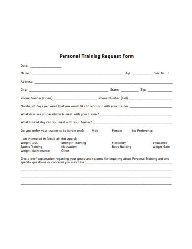 personal training request form in pdf