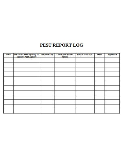 pest report log example