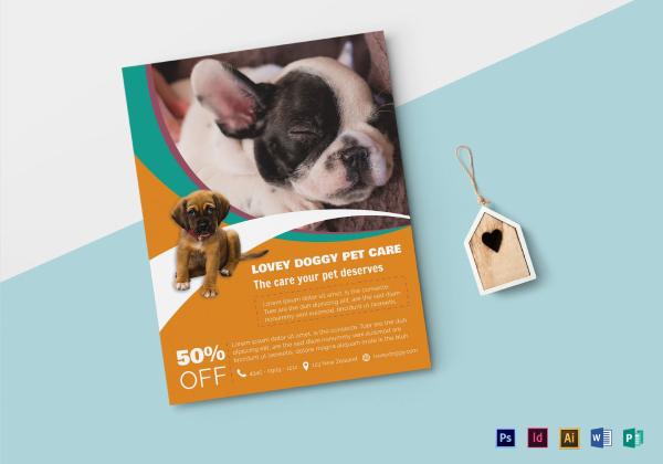 pet care flyer mock up