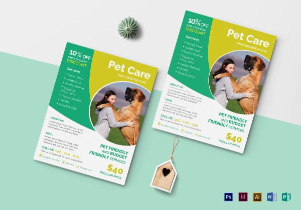 pet care double sided flyer mock up