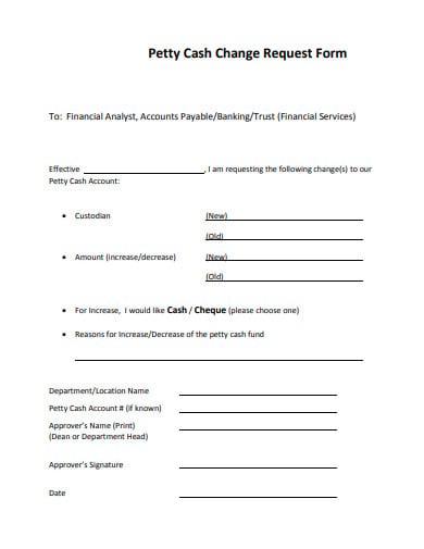 petty cash change request form template