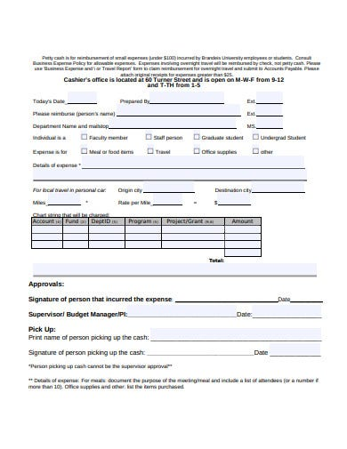 petty cash form example