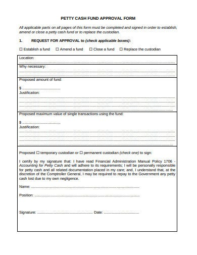 petty cash fund approval form template