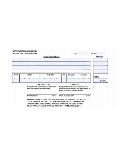 petty cash pay out form template