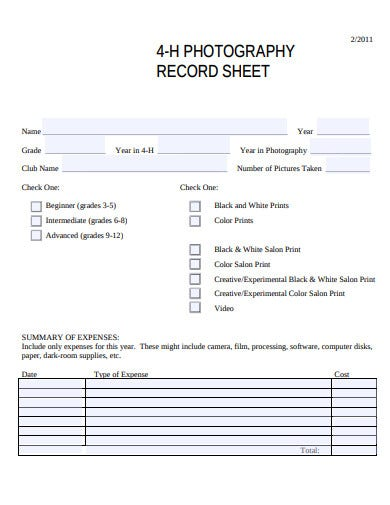 photography record sheet