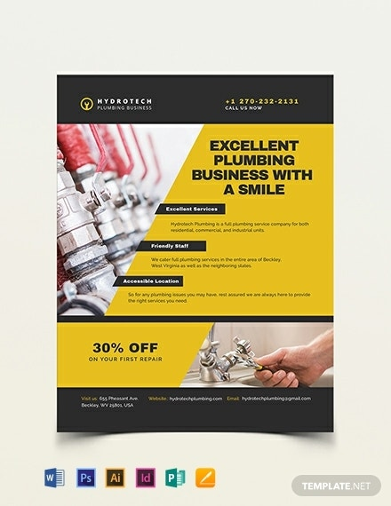 plumbing business flyer template 440x570 1