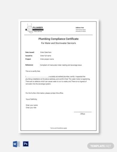 plumbing compliance certificate template